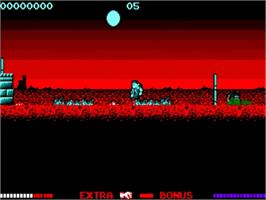 In game image of Switchblade on the Amstrad GX4000.