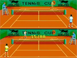In game image of Tennis Cup II on the Amstrad GX4000.