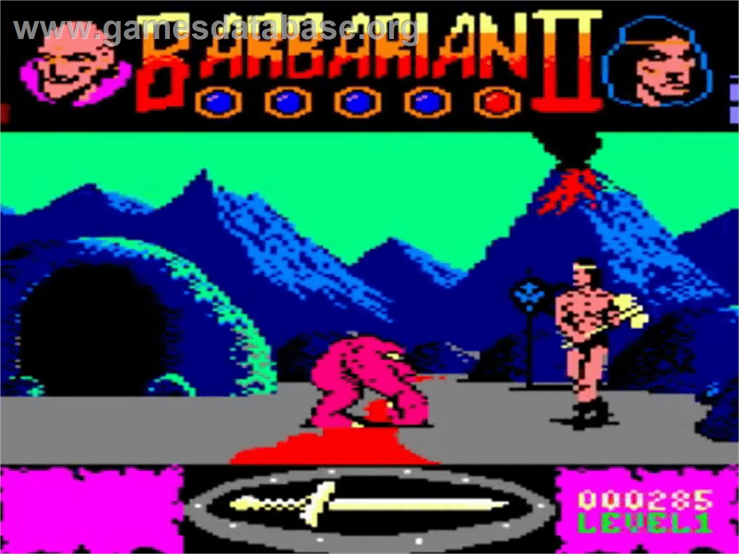 In game image of Barbarian II - The Dungeon Of Drax on the Amstrad