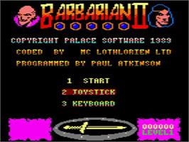 Title screen of Barbarian II - The Dungeon Of Drax on the Amstrad GX4000.