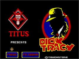 Title screen of Dick Tracy on the Amstrad GX4000.