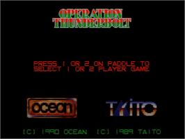 Title screen of Operation Thunderbolt on the Amstrad GX4000.