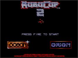 Title screen of Robocop 2 on the Amstrad GX4000.