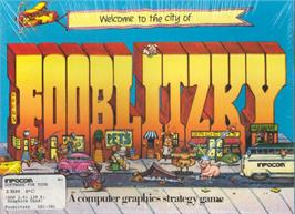 Box cover for Fooblitzky on the Apple II.