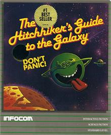 Box cover for Hitch Hiker's Guide to the Galaxy on the Apple II.