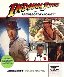 Box cover for Indiana Jones in Revenge of the Ancients on the Apple II.