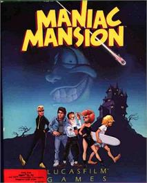Box cover for Maniac Mansion on the Apple II.