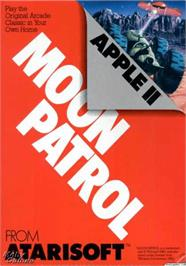 Box cover for Moon Patrol on the Apple II.