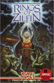 Box cover for Rings of Zilfin on the Apple II.