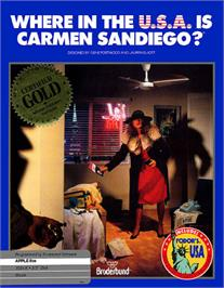 Box cover for Where in the USA is Carmen Sandiego on the Apple II.