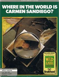Box cover for Where in the World is Carmen Sandiego on the Apple II.