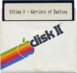 Artwork on the Disc for Ultima V: Warriors of Destiny on the Apple II.