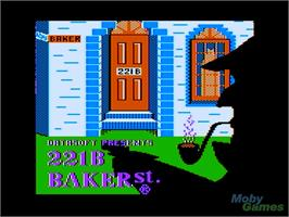 In game image of 221 B Baker St. on the Apple II.