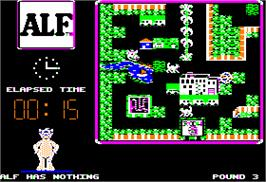 In game image of ALF: The First Adventure on the Apple II.