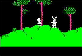 In game image of Alice in Wonderland on the Apple II.
