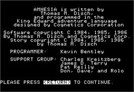In game image of Amnesia on the Apple II.