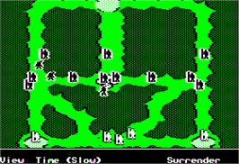In game image of Ancient Art of War on the Apple II.