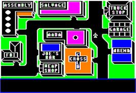 In game image of Autobahn on the Apple II.