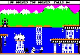 In game image of Bruce Lee on the Apple II.