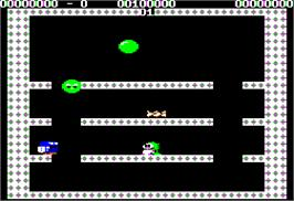 In game image of Bubble Bobble on the Apple II.