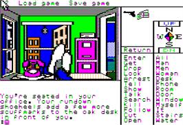 In game image of Burger Time on the Apple II.