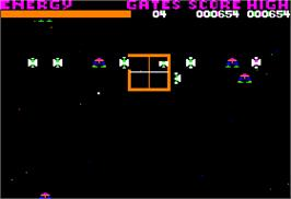 In game image of Centipede on the Apple II.