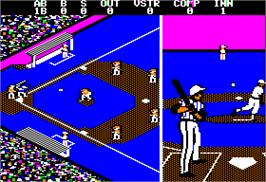 In game image of Championship Baseball on the Apple II.
