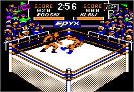 In game image of Championship Wrestling on the Apple II.