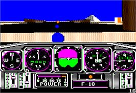 In game image of Chuck Yeager's Advanced Flight Trainer on the Apple II.
