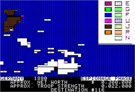 In game image of Colonial Conquest on the Apple II.