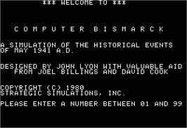 In game image of Computer Bismarck on the Apple II.