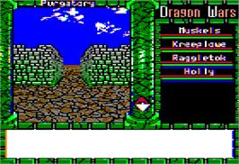 In game image of Dragon's Keep on the Apple II.