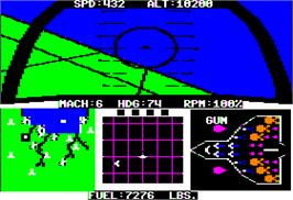 In game image of F-15 Strike Eagle on the Apple II.