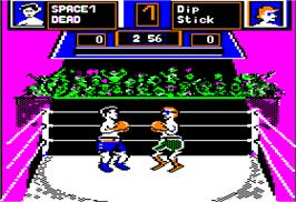 In game image of Fight Night on the Apple II.