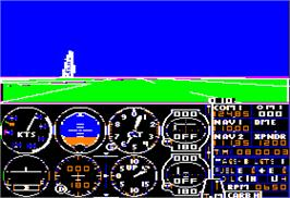 In game image of Flight Simulator on the Apple II.