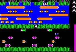 In game image of Frogger on the Apple II.