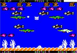 In game image of Frogger 2: Three Deep on the Apple II.