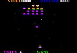 In game image of Galaxian on the Apple II.