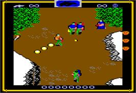 In game image of Heavy Barrel on the Apple II.