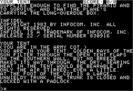 In game image of Infidel on the Apple II.