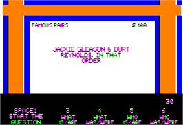 In game image of Jeopardy on the Apple II.