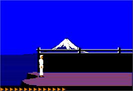 In game image of Karateka on the Apple II.