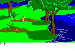In game image of King's Quest on the Apple II.