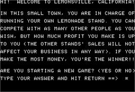 In game image of Lemonade Stand on the Apple II.
