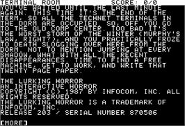 In game image of Lurking Horror on the Apple II.