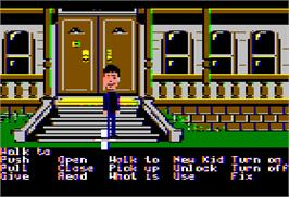 In game image of Maniac Mansion on the Apple II.