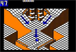 In game image of Marble Madness on the Apple II.