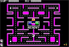 In game image of Ms. Pac-Man on the Apple II.