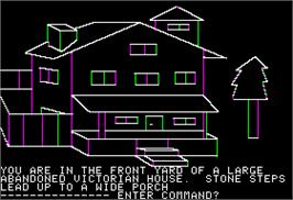 In game image of Mystery House on the Apple II.