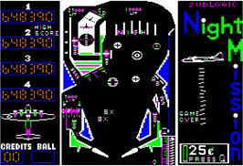 In game image of Night Mission Pinball on the Apple II.